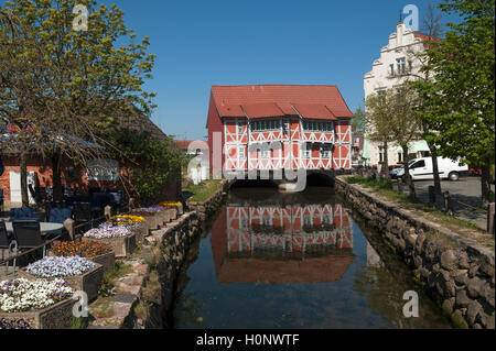 Vault, timber-framed building from the 17th century, Wismar, Mecklenburg-Western Pomerania, Germany - Stock Photo