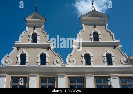 Restored gables of old houses, Wismar, Mecklenburg-Western Pomerania, Germany - Stock Photo
