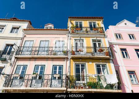 Colourful houses, Belém, Lisbon, Portugal - Stock Photo