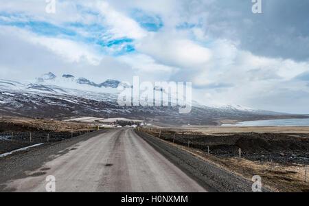 Road through volcanic landscape, ring road, National Highway 1 or Hringvegur, near Djúpivogur, East Island, Island - Stock Photo