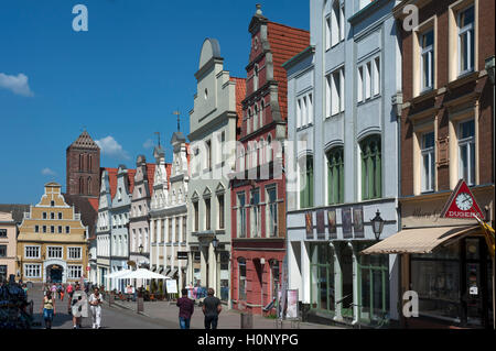 Restored, colorful facades of houses in the pedestrian area, behind St. Nikolai, Wismar, Mecklenburg-Western Pomerania, - Stock Photo