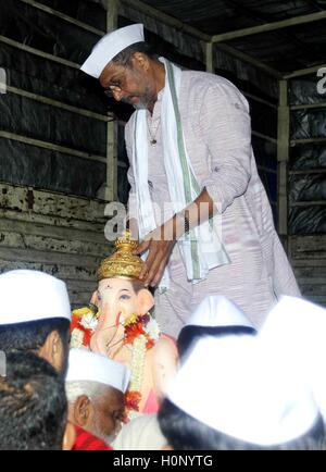 Bollywood actor Nana Patekar participate procession immersion Lord Ganesh the final day of the Ganesh festival, - Stock Photo