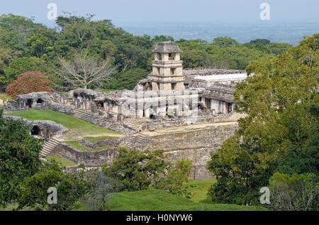 Palace El Palacio, Mayan ruins of Palenque, Palenque, Chiapas, Mexico - Stock Photo
