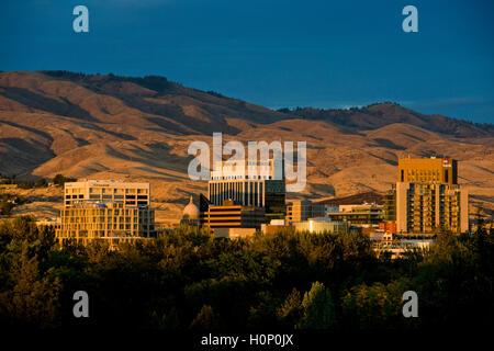 Boise Idaho skyline against foothills at sunset on Sept 2, 2016 - Stock Photo