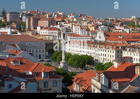 Aerial view to Rossio square Baixa Lisbon Portugal - Stock Photo