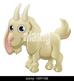 Cartoon cute goat farm animal character - Stock Photo