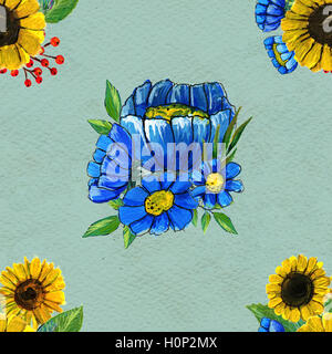 Seamless pattern with sunflowers and wildflowers - Stock Photo