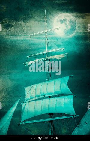 Grunge old tall ship sails at the Moon - Stock Photo