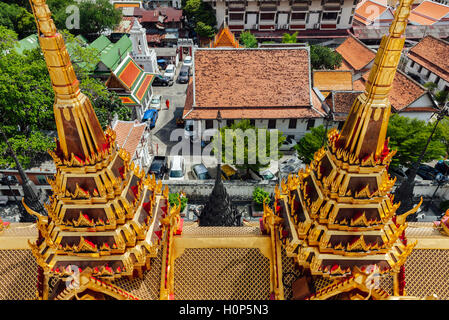 High angle view of the Wat Ratchanatdaram, Bangkok, Thailand - Stock Photo