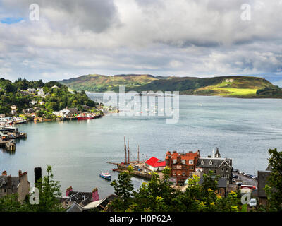 View Over the Bay to the Isle of Kerrera from McCaigs Tower above Oban Argyll and Bute Scotland - Stock Photo