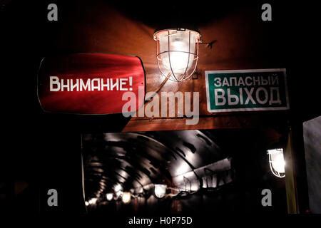 Warning signs at the underground tunnel in the Tagansky Protected Command Point, also known as bunker-42 a once - Stock Photo