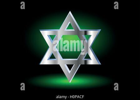 Star of david, Jewish star,Star of David on a green background , - Stock Photo