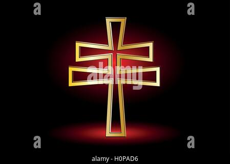 Cross On A Red Background Double Religious Cross Christian Double