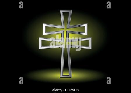 cross on a yellow background ,double religious cross , Christian double cross, - Stock Photo