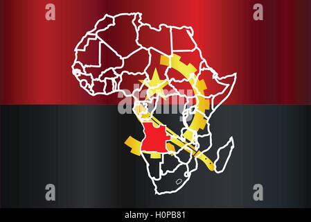 Africa map and flag of Angola Stock Photo Royalty Free Image