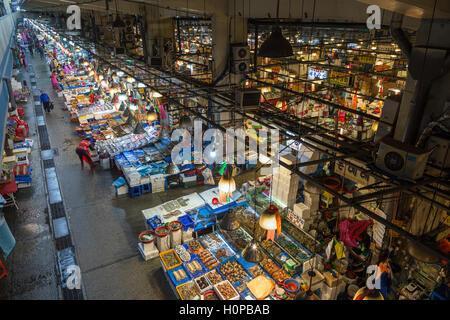 View of Noryangjin Fisheries Wholesale Market (or Noryangjin Fish Market) from above in Seoul, South Korea. - Stock Photo