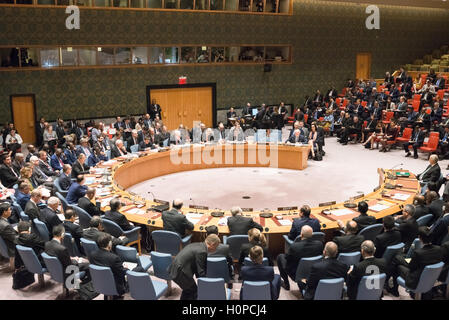 New York, United States. 21st Sep, 2016. Council delegates sit in the Security Council Chamber. The United Nations - Stock Photo