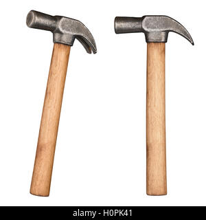 Old rustic claw hammer with wooden handle. - Stock Photo