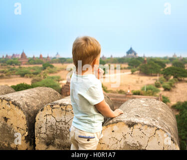 View from the Shwesandaw in Bagan. Myanmar. - Stock Photo