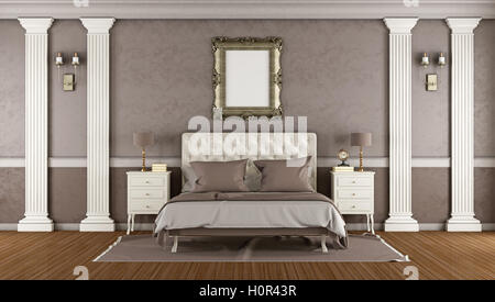 Classic Master Bedroom With Elegant Double Bed And Nightstand 3d Rendering Stock Photo