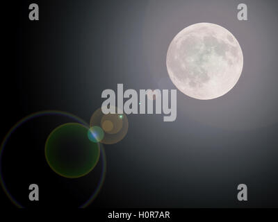 shiny full moon background - Stock Photo