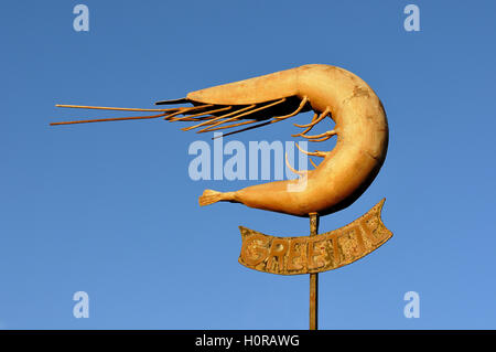 Monument to North Sea brown shrimp, Krabbe Greetje at Greetsiel Harbour, Lower Saxony, Germany - Stock Photo