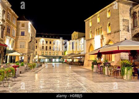 Old square in Split night view, Dalmatia, Croatia - Stock Photo