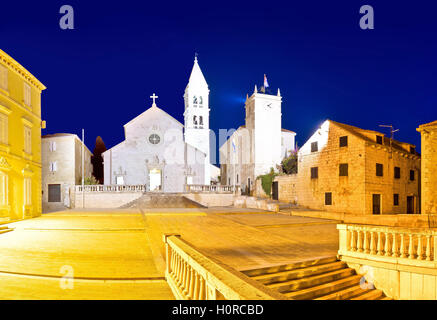 Church and stone squate in Supetar evening view, island of Brac, Dalmatia, Croatia - Stock Photo