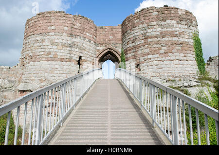 The walkway entering the highest section of castle ruins at Beeston Castle in Cheshire - Stock Photo