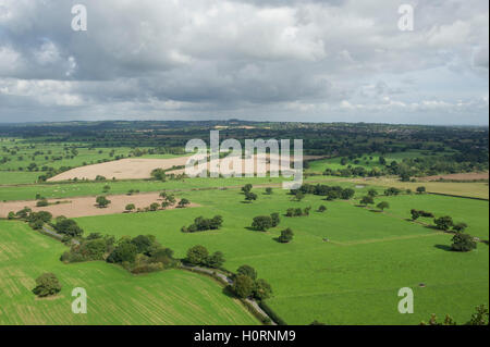 A view over the Cheshire countryside from Beeston Castle between Chester and Crewe - Stock Photo