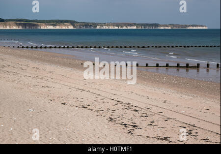 Looking towards Bempton cliffs from the seafront at Bridlington East Yorkshire in late summer. - Stock Photo