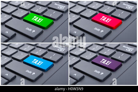 Close-up view on conceptual keyboard with taxi button as online order concept - Stock Photo