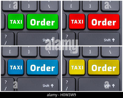 Colorful buttons with taxi order text on laptop keyboard as online services concept - Stock Photo