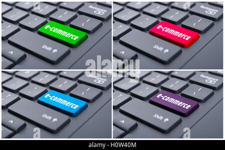 Electronic commerce key on enter computer button as online shopping concept - Stock Photo