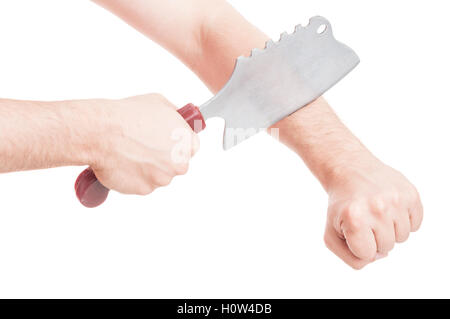 Violent attack and hand cutting in closeup with dangerous weapon isolated on white background - Stock Photo