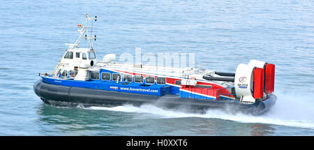 Looking down on Passenger hovercraft service Freedom 90 at speed operated by Hovertravel crossing Solent Portsmouth - Stock Photo