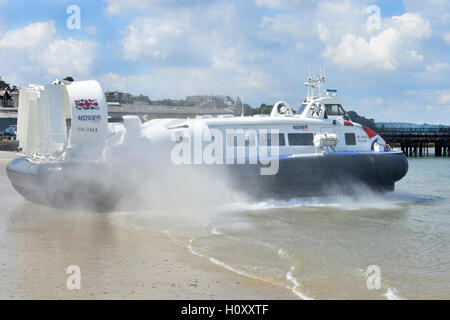 Passenger transport Hovercraft GH-2161Island Flyer departing Ryde Isle of Wight for flight across Solent water towards - Stock Photo