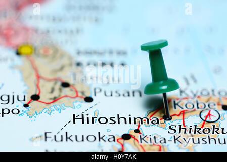 Close Up Of Atlas Map Of Hiroshima Japan Stock Photo Royalty - Japan map hiroshima