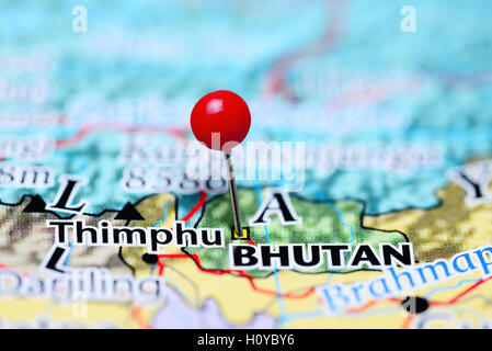Thimphu pinned on a map of Bhutan - Stock Photo