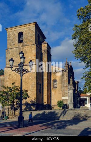 Church of San Pedro Apóstol or Santuario del Cristo de la Agonía, in town Limpias, Cantabria, Spain - Stock Photo