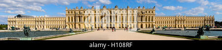 The Palace of Versailles, or simply Versailles, is a royal château close to Paris, France. Stitched panorama. - Stock Photo