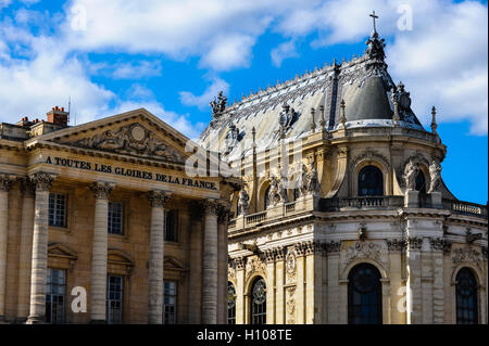 The Palace of Versailles, or simply Versailles, is a royal château close to Paris, France. Pavillon Gabriel and - Stock Photo