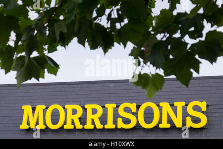 A general view of a Morrisons Supermarket sign - Stock Photo