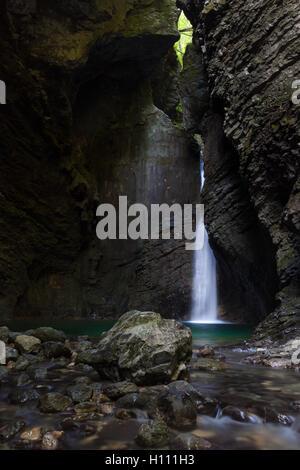Kozjak waterfall in the National Park of Triglav, Julian Alps, S - Stock Photo