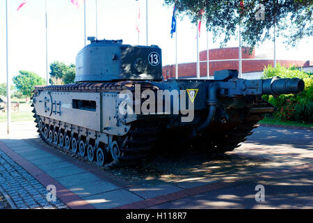 CHURCHILL MK VII CROCODILE.ARMOURED VEHICLE (TANK) REAR. SHOWING FUEL COUPLING FOR FLAME THROWER. - Stock Photo