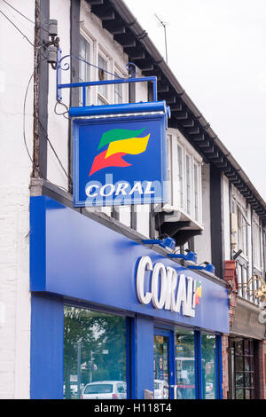 A view of the sign and exterior of a Coral bookmakers shop chain, Ickenham, Hillingdon, United Kingdom - Stock Photo
