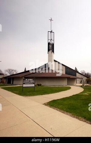 St. James Catholic Church in Bay City, MI - Stock Photo