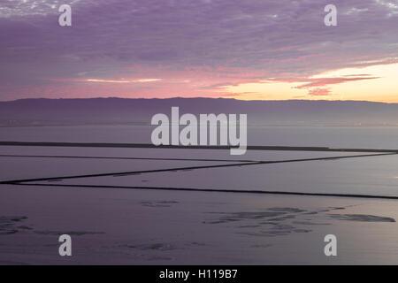 San Francisco Bay Salt Ponds Sunset - Stock Photo