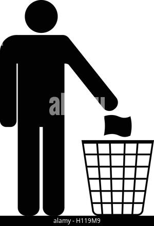Tidy man symbol do not litter icon keep clean dispose of carefully and