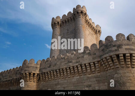 View of the old 14th century Mardakan quadrangular tower which is part of  chain of towers and other fortresses - Stock Photo